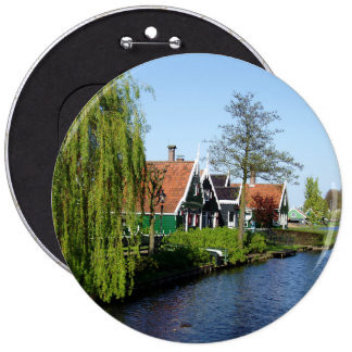 Zaanse Schans Dutch timber houses in green and red Button