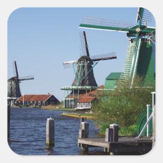 Zaanse Schans Dutch windmills in green and white Square Sticker