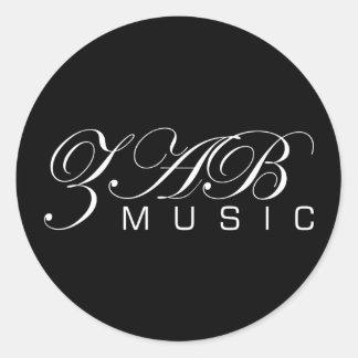 ZAB Music (Logo 1 Black) Classic Round Sticker