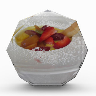 Zabaglione cream with fresh fruit and rolled wafer award