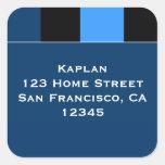 "Zachary Blue Black 1.5"" Envelope Seal Square Sticker"