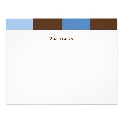 Zachary Blue Brown Thank You Card Custom Invite