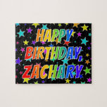 "[ Thumbnail: ""Zachary"" First Name, Fun ""Happy Birthday"" Jigsaw Puzzle ]"