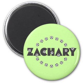 Zachary in Soccer Black 2 Inch Round Magnet