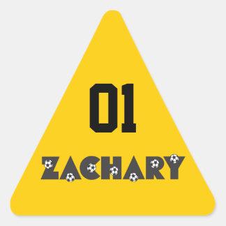 Zachary in Soccer Black Triangle Sticker