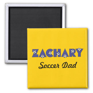 Zachary in Soccer Blue 2 Inch Square Magnet