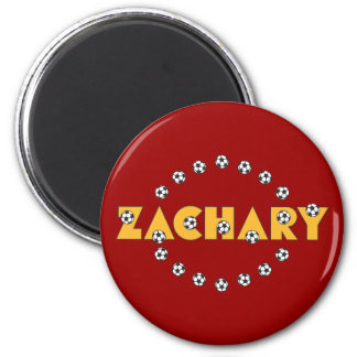 Zachary in Soccer Gold 2 Inch Round Magnet