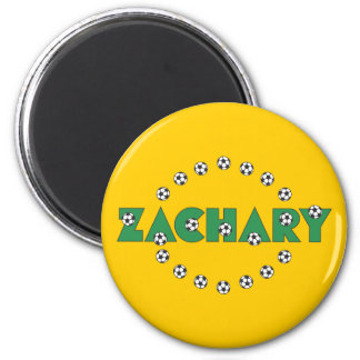 Zachary in Soccer Green 2 Inch Round Magnet