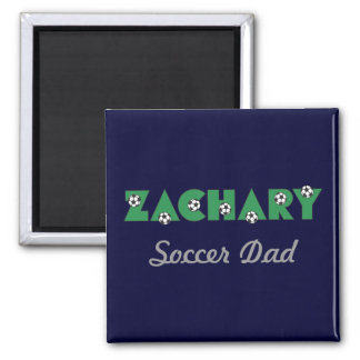 Zachary in Soccer Green 2 Inch Square Magnet