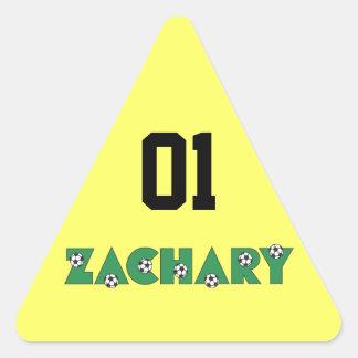 Zachary in Soccer Green Triangle Sticker