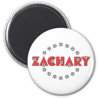 Zachary in Soccer Red 2 Inch Round Magnet