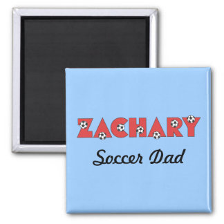 Zachary in Soccer Red 2 Inch Square Magnet