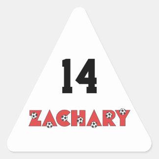 Zachary in Soccer Red Triangle Sticker