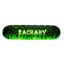 Zachary skateboard green fire and flames design.
