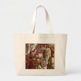 Zacheus sees Jesus Large Tote Bag