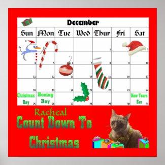 Zack The Xmas Cat Countdown To Christmas print