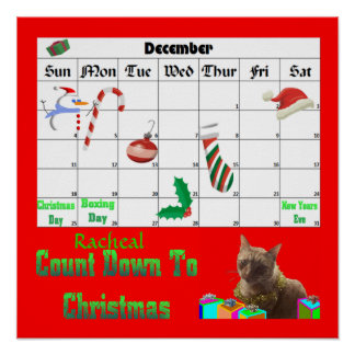 Zack The Xmas Cat Countdown To Christmas Poster
