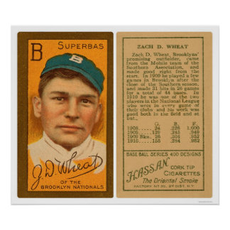 Zack Wheat Brooklyn Superbas Baseball 1911 Poster