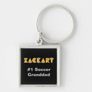 Zackary en amarillo del fútbol llavero cuadrado plateado