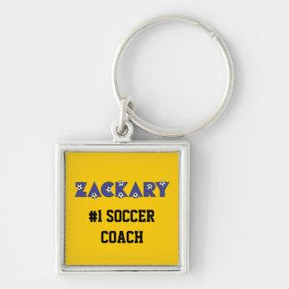 Zackary en azul del fútbol llavero cuadrado plateado