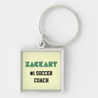 Zackary en verde del fútbol llavero cuadrado plateado