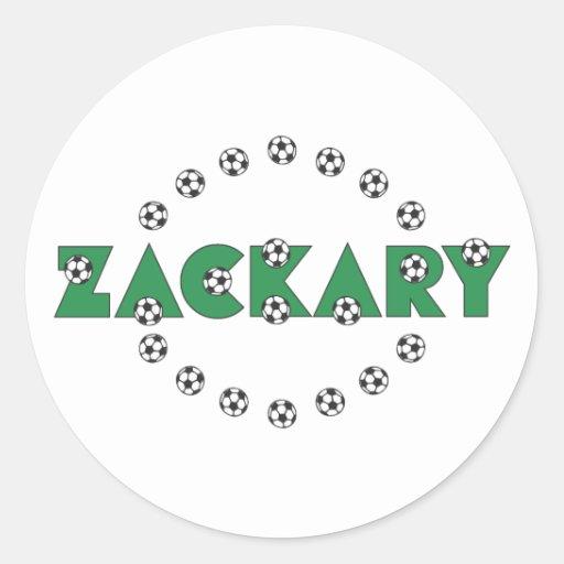 Zackary in Soccer Green Round Sticker