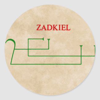 zadkiel classic round sticker