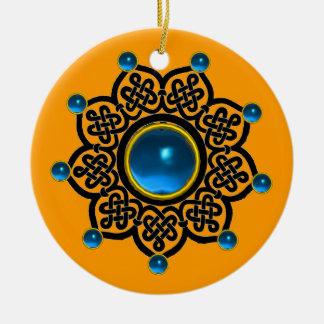 Zafiro azul del SOL GÓTICO, gemas de rubíes rojas Adorno Redondo De Cerámica
