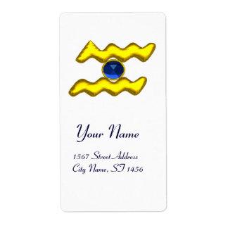 Zafiro del azul del CUMPLEAÑOS del ZODIACO del Etiquetas De Envío