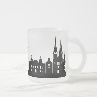 Zagreb silhouette frosted glass mug
