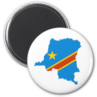 zaire congo country flag map 2 inch round magnet