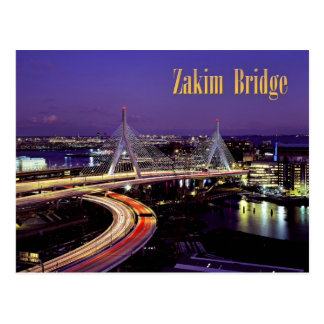 Zakim Bridge, Boston at night Postcard