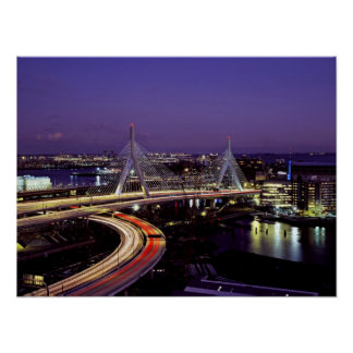 Zakim Bridge, Boston at night Poster