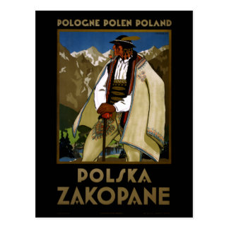 Zakopane Poland Vintage Travel Poster Restored Postcard