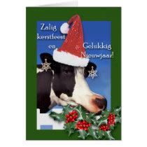 Zalig kerstfeest, Holstein Cow with Santa Hat Card