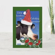 Zalig kerstfeest, Holstein Cow with Santa Hat Holiday Card