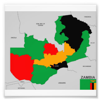 zambia country political map flag art photo
