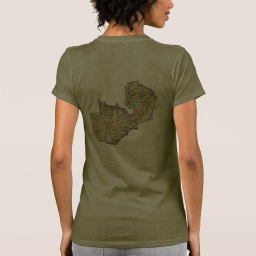 Zambia Flag and Map dk T-Shirt Tee Shirts