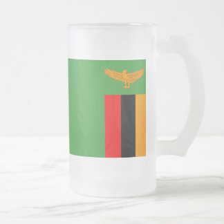 Zambia Flag Frosted Glass Beer Mug