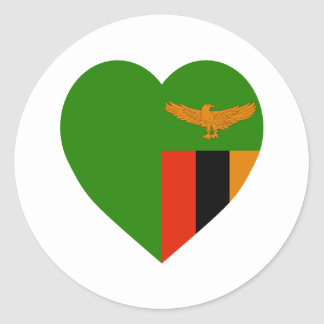 Zambia Flag Heart Classic Round Sticker