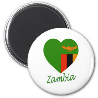 Zambia Flag Heart Magnets