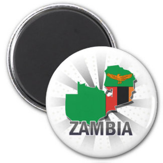 Zambia Flag Map 2.0 2 Inch Round Magnet