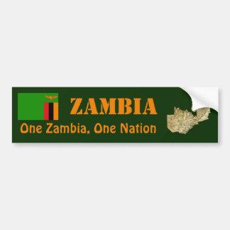 Zambia Flag + Map Bumper Sticker