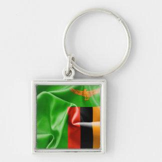 Zambia Flag Premium Square Keychain