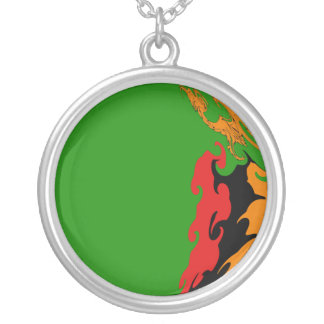 Zambia Gnarly Flag Silver Plated Necklace