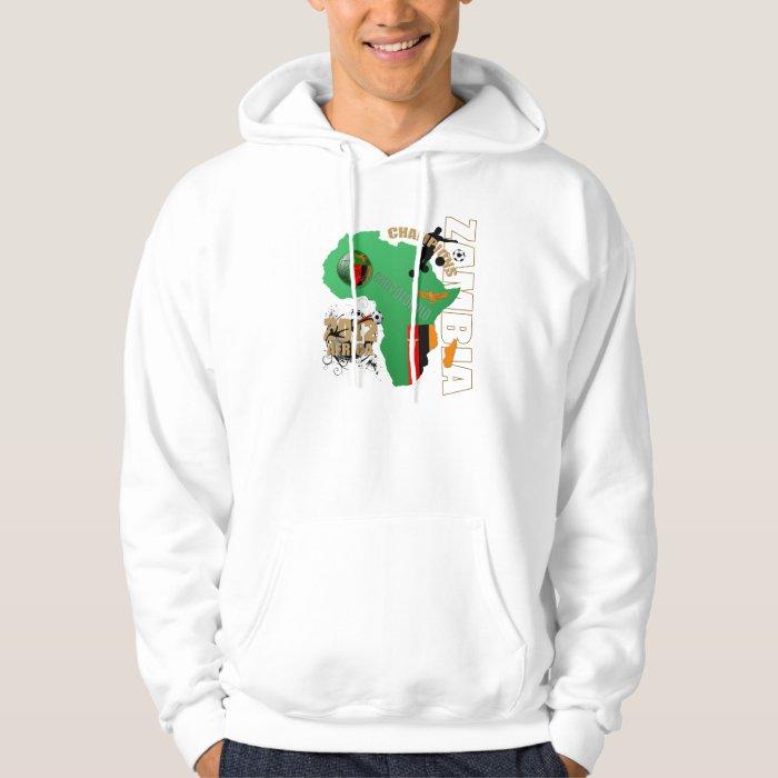 Zambia Map of Africa Zambian flag Soccer Champions Hoodie