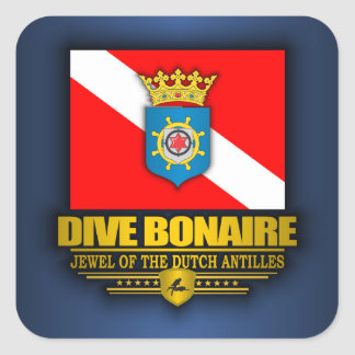 Zambullida Bonaire 2 Calcomanía Cuadrada