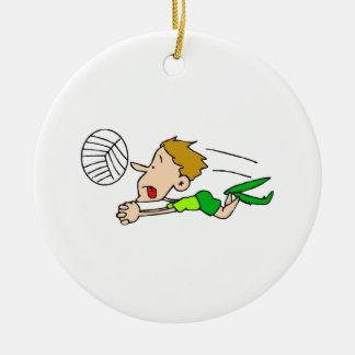 Zambullida del muchacho del voleibol adorno redondo de cerámica