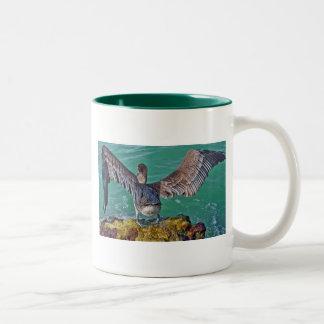 Zambullida del pelícano tazas de café