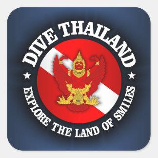 Zambullida Tailandia rd Calcomanias Cuadradas